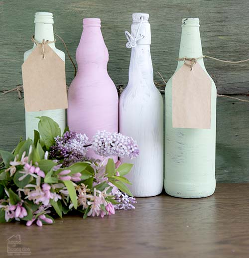 chalk paint on wine bottles