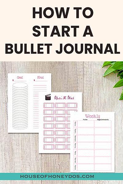 start a bullet journal pin image