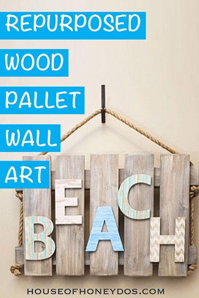 wood wall pallet wall art in rustic beach theme