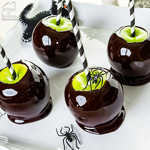poison candy apples on a tray