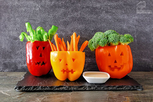 pepper and vegetable Halloween dip