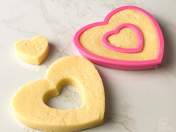 heart shaped cookie dough with heart removed from center